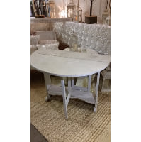 Table - White Round Drop Leaf