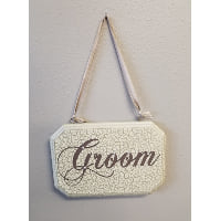 Sign - Groom / Mr cream, brown w/ pearls