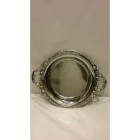 Tray - Silver Round Small Two Handle