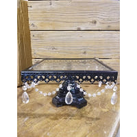 Pedestal - Small Black Cambria Crystal Square