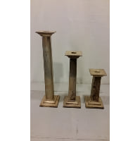 Candlestick Set - Three Silver Square Columns