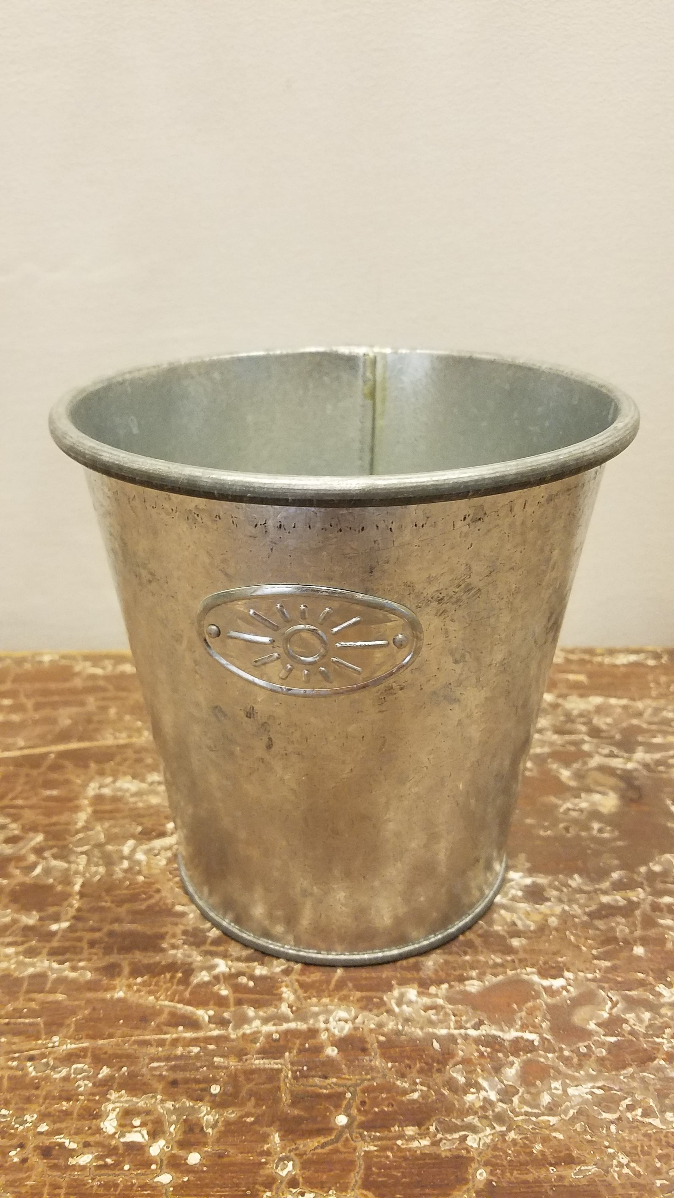 Bucket - Small Galvanized w/Sun