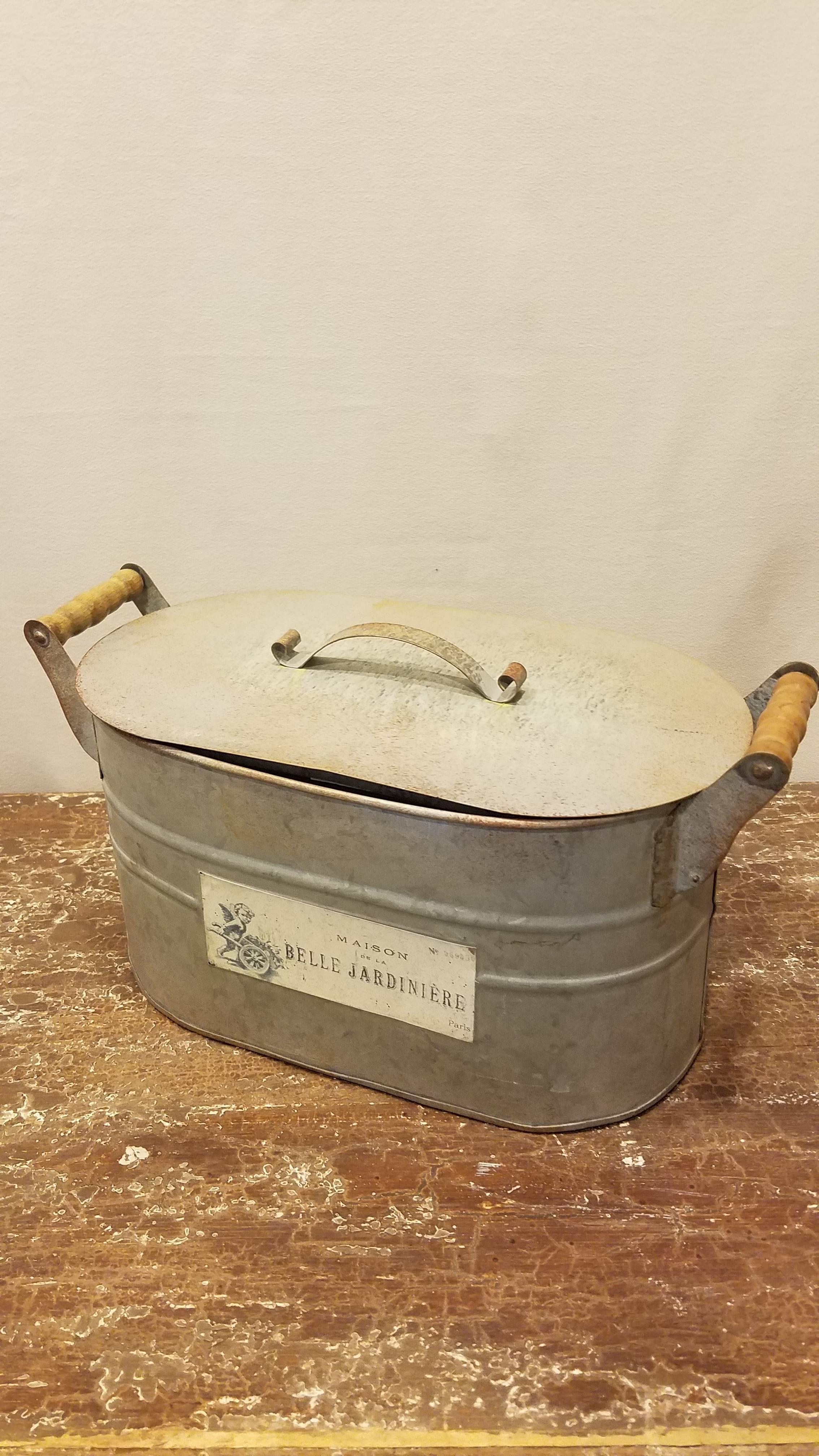 Bucket - Small Oval Galvanized w/Lid