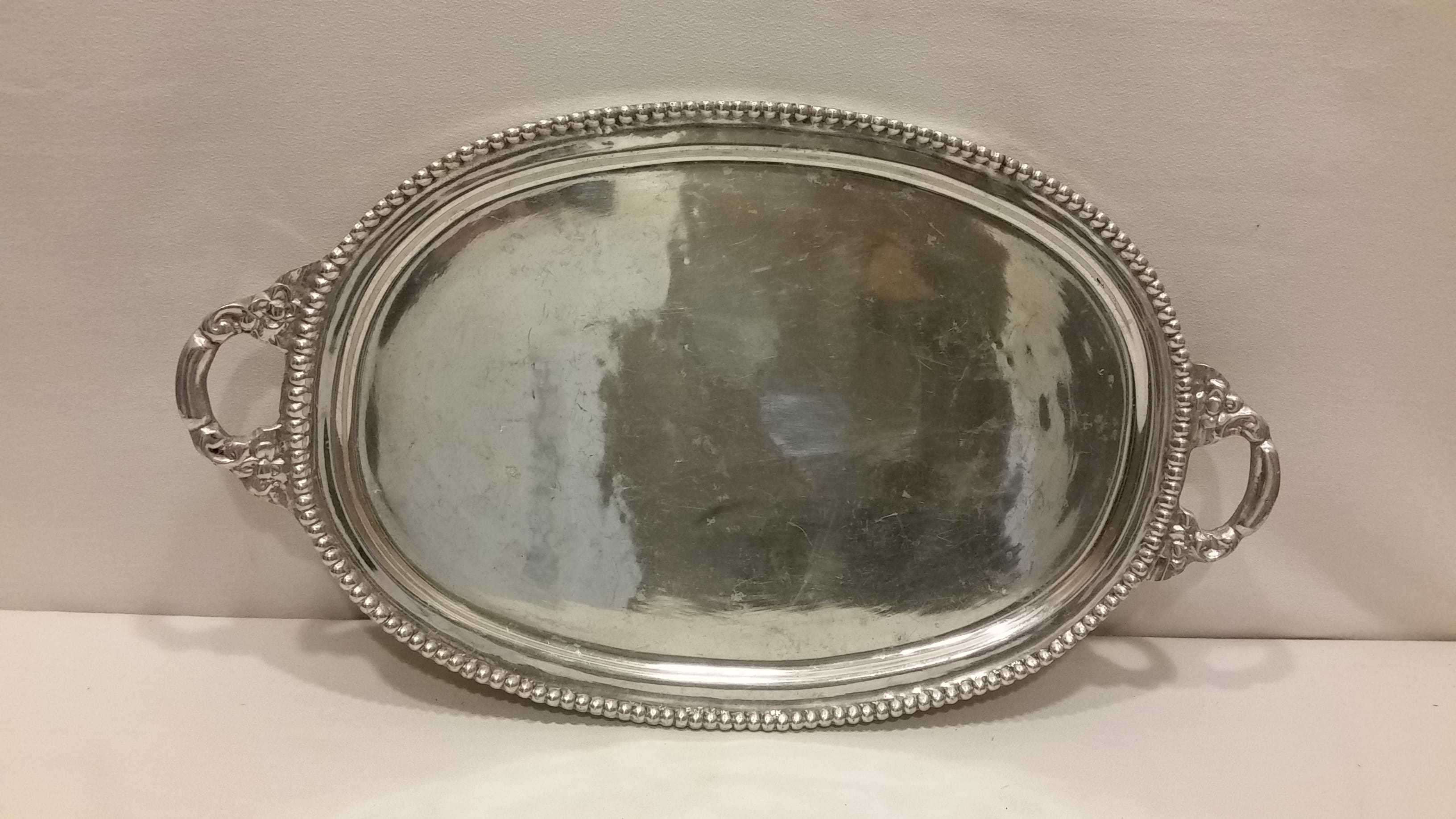 Tray - Silver Dot Edge Two Handle