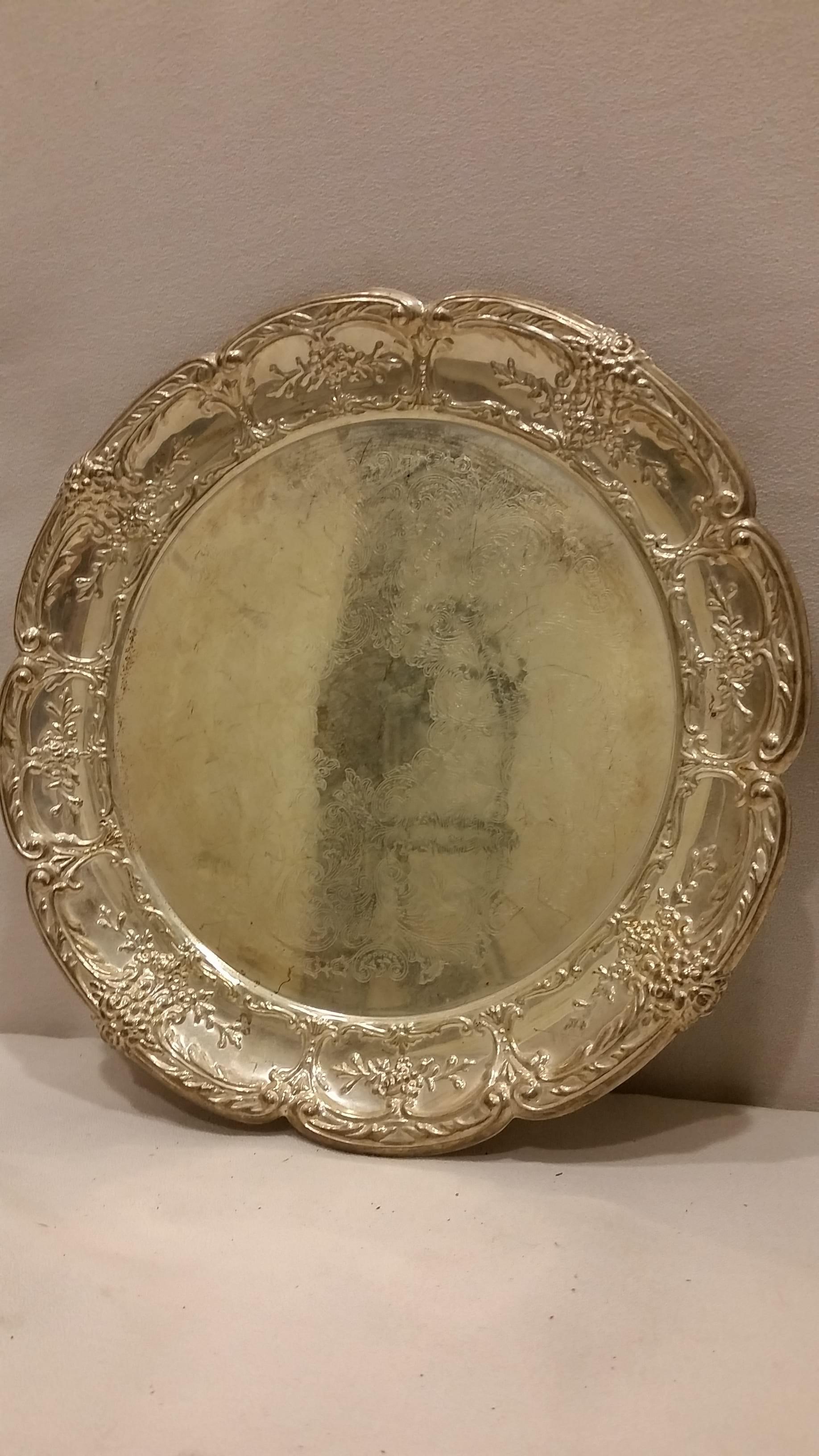 Tray - Silver Medium Floral Edge Plate