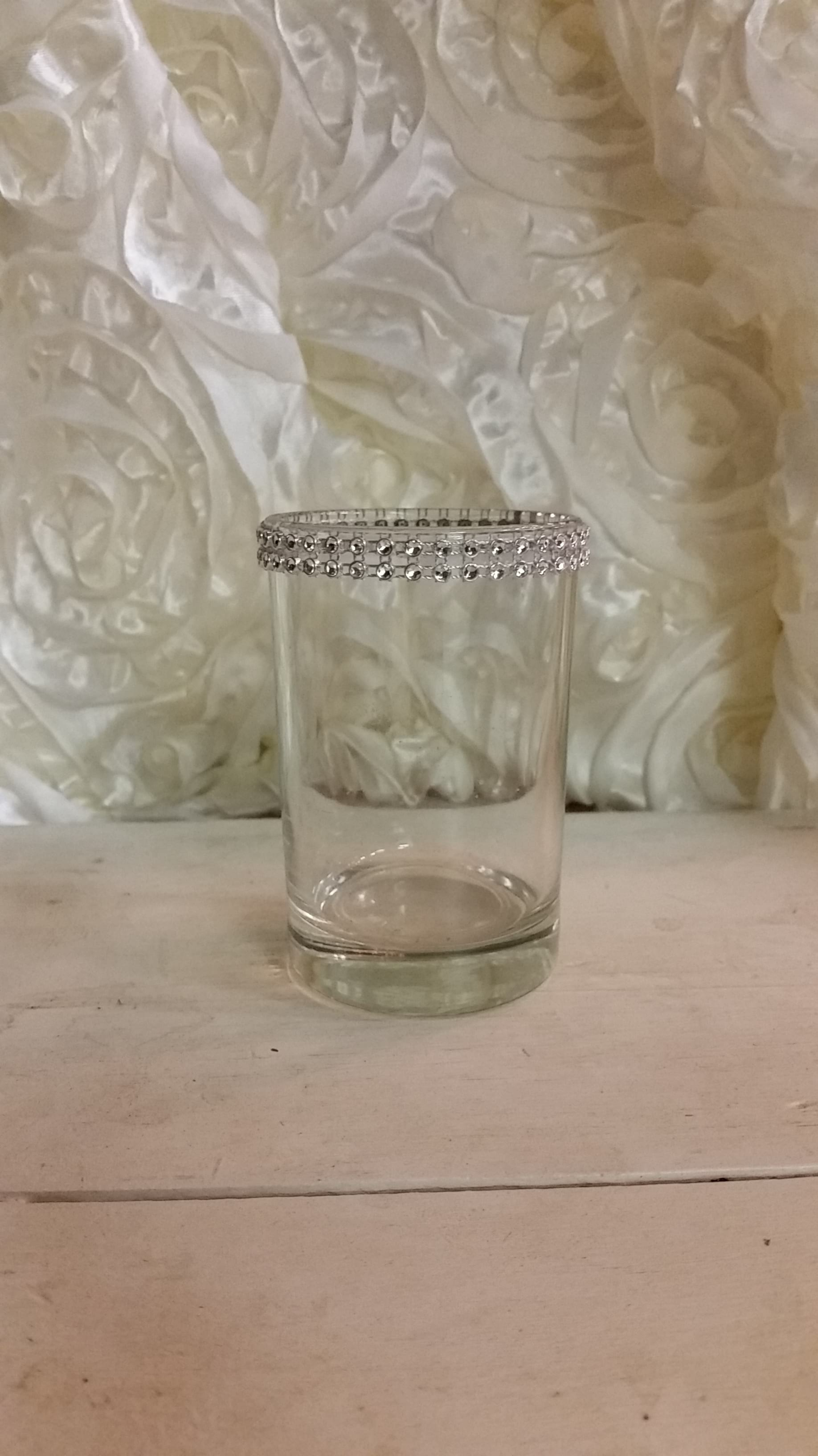 Votive - Clear Glass Diamond Rim