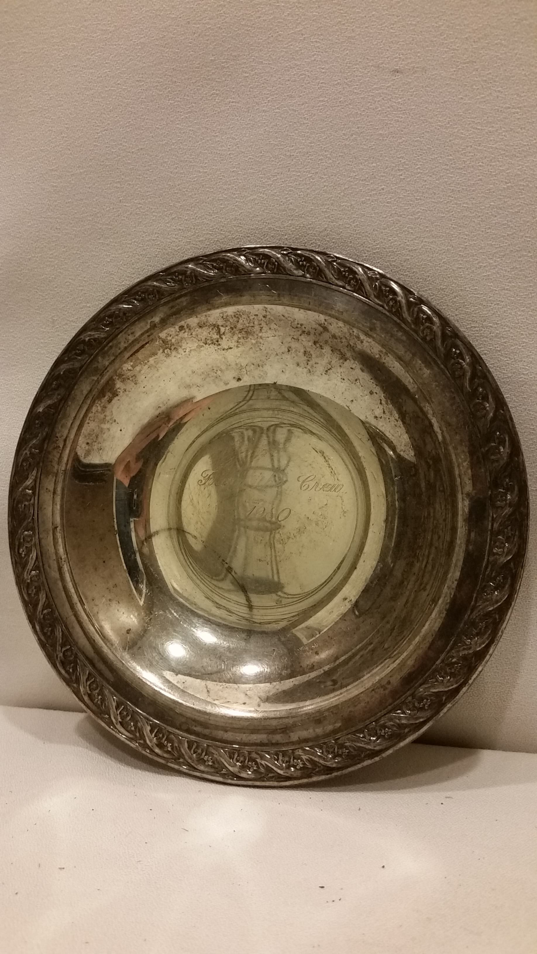 """Tray - Silver Round Bowl """"1980"""""""