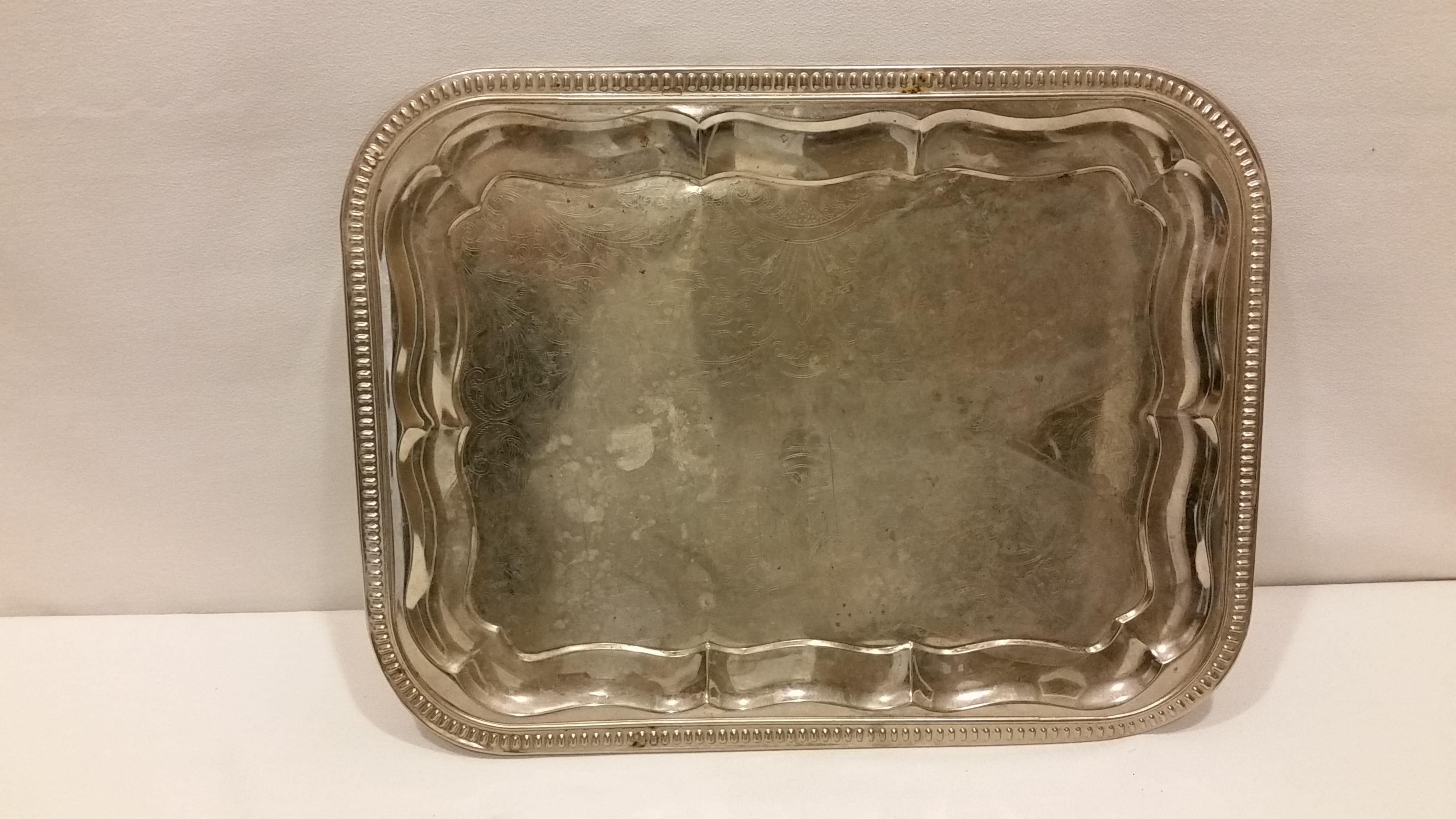 Tray - Silver Rectangle Floral Design