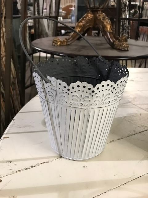 Bucket - White Lace Top w/Metal Handle