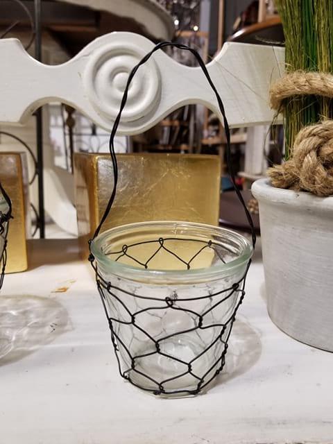 Vase - Small Glass Chicken Wire w/Handle