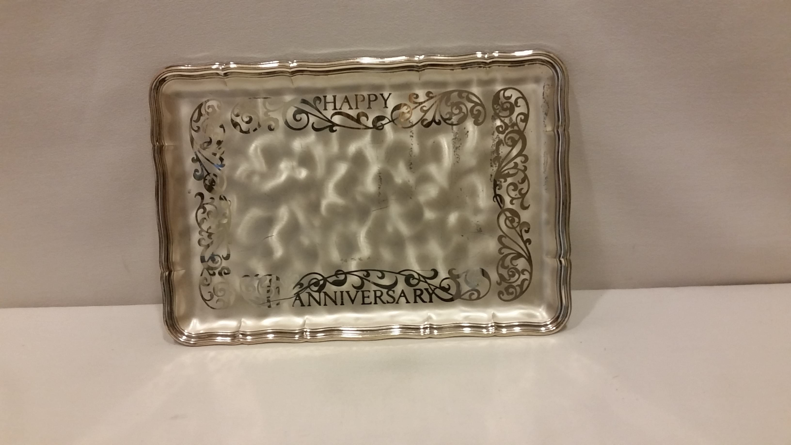"Tray - Silver ""Happy Anniversary"""