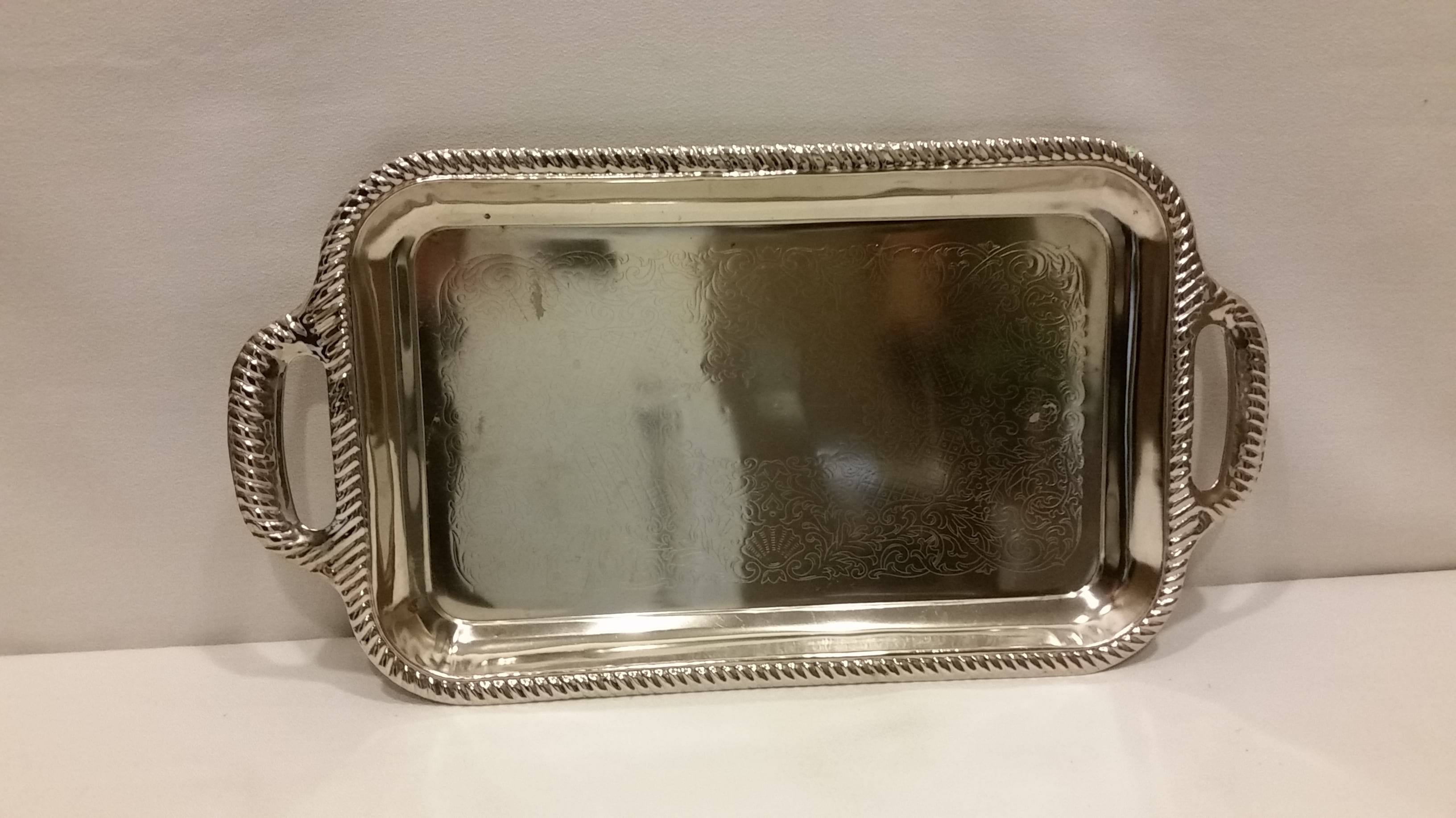 Tray - Silver Twist Edge Two Handle
