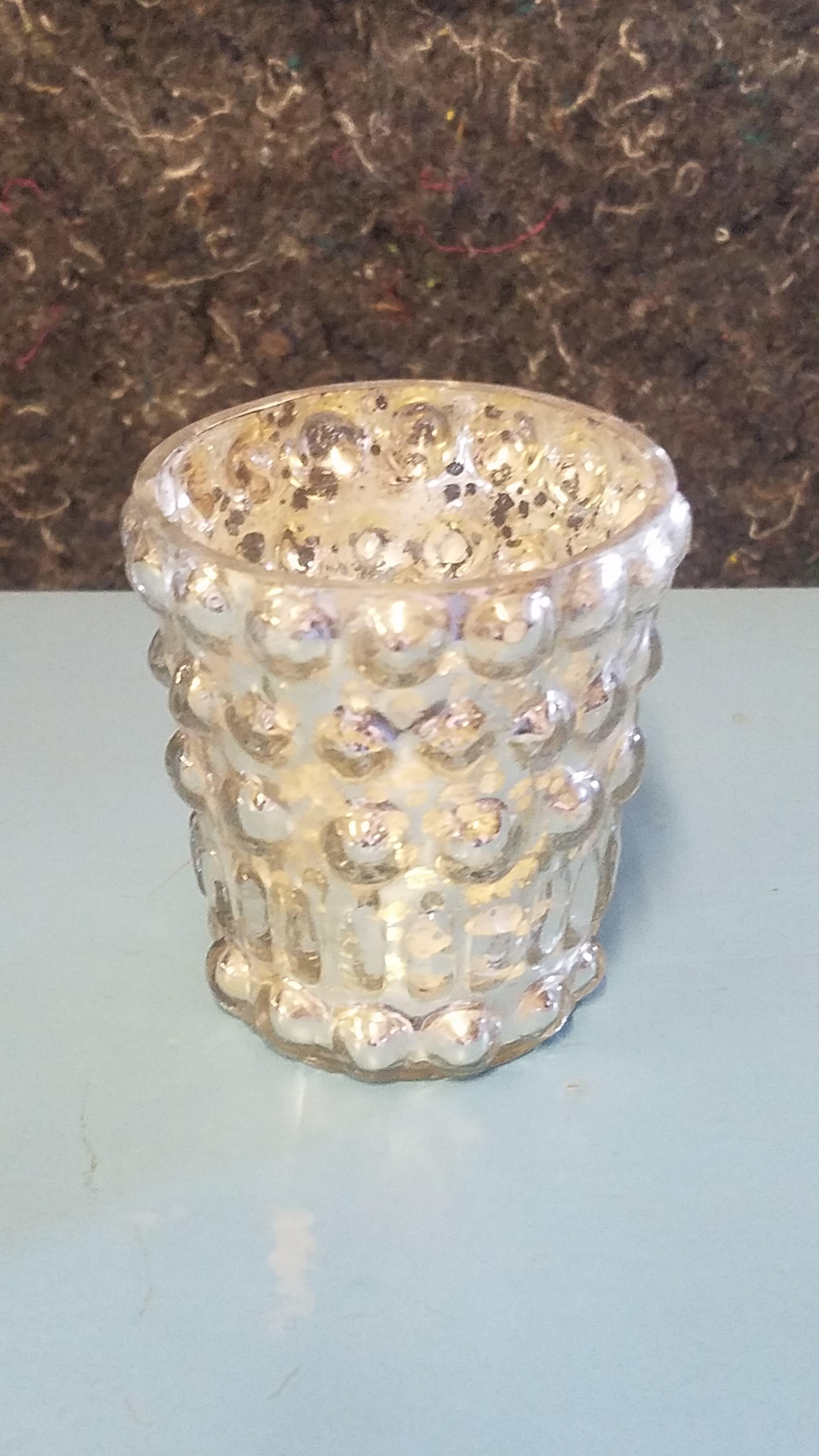 Votive - Mercury Glass Silver Knobby