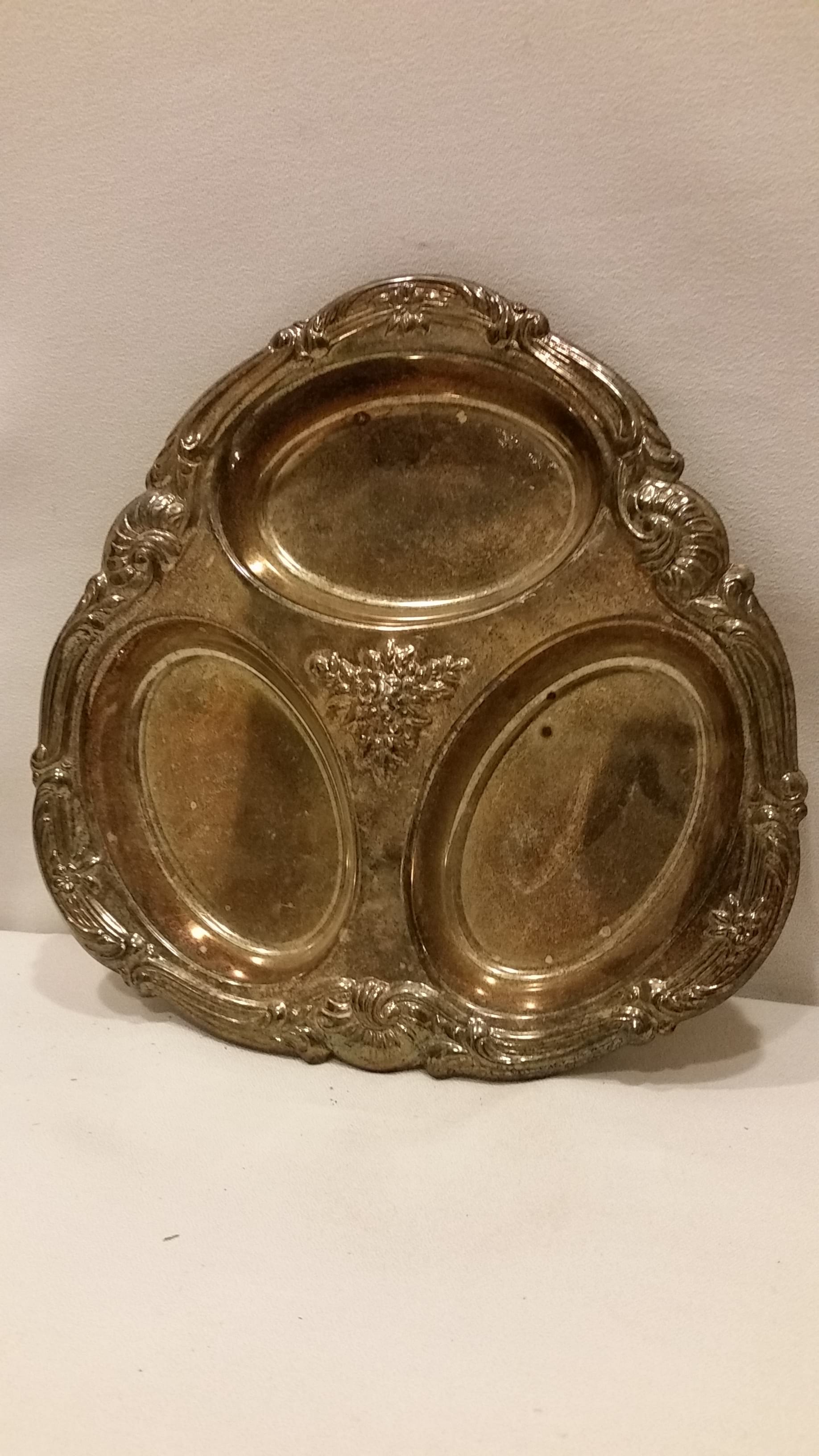 Tray - Silver Tarnished Three Section