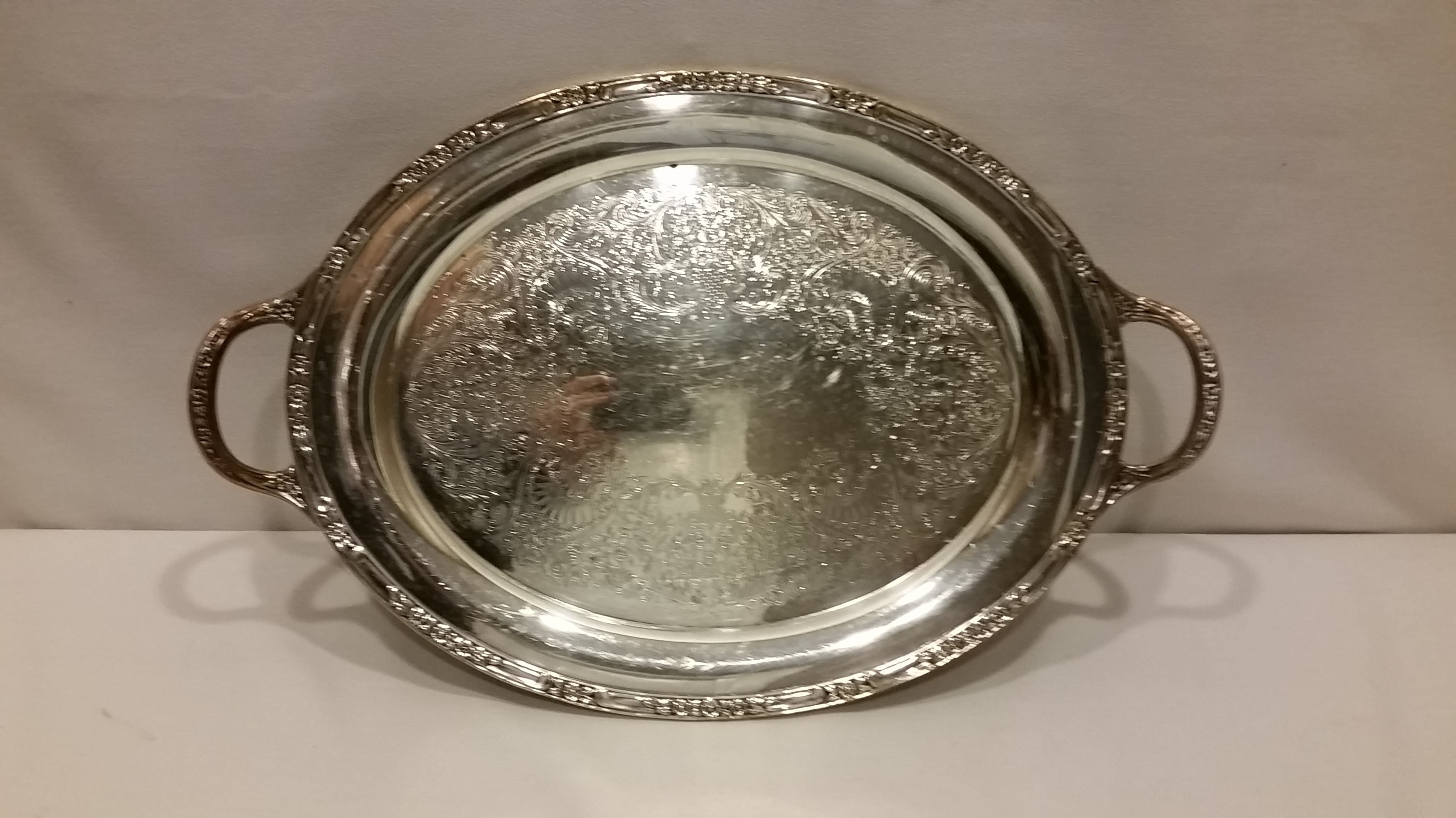 Tray - Silver Oval Flower Edge Two Handle