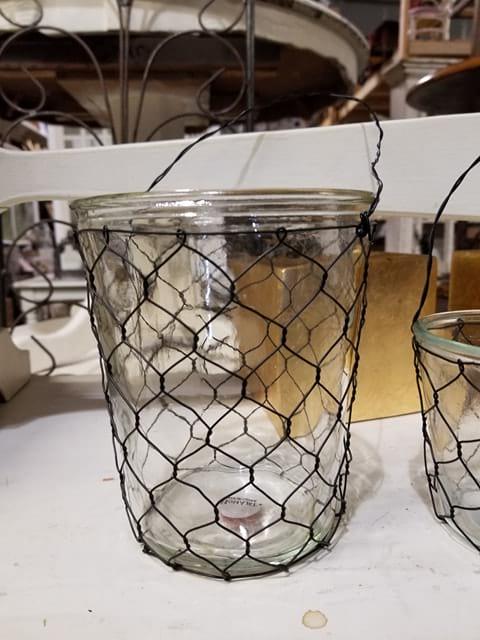 Vase - Large Glass Chicken Wire w/Handle