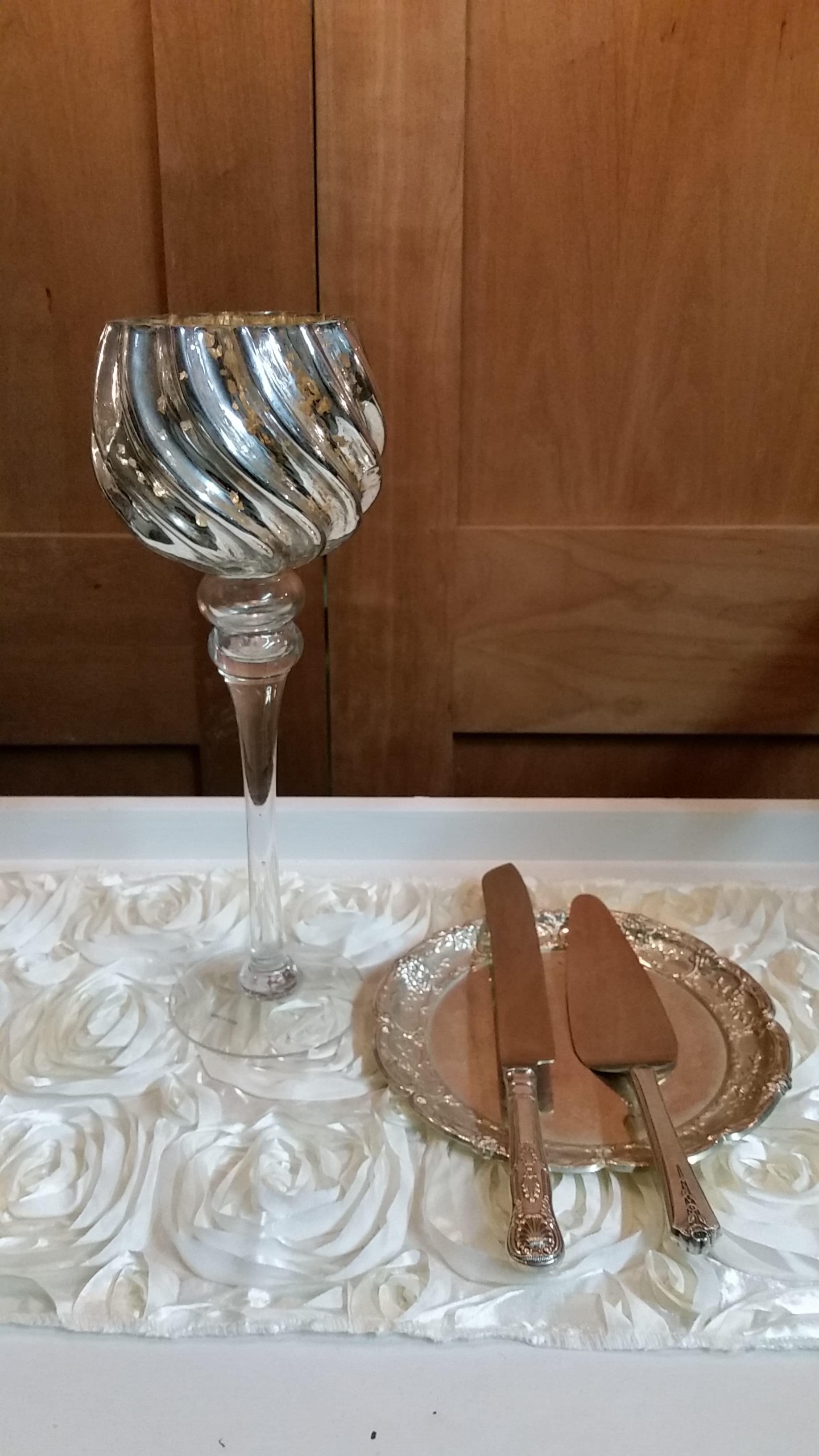 "Vase - 13.5"" Mercury Glass Stemmed Bowl Top"