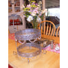 z9   2-tiered silver tray with bling 19x11