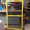 d81 yellow frame screen with twine and clips for hanging items