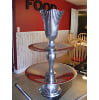 X19 silver 2-tiered stand with vase on top