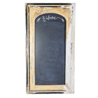 Freestanding gold/white antique framed chalkboard