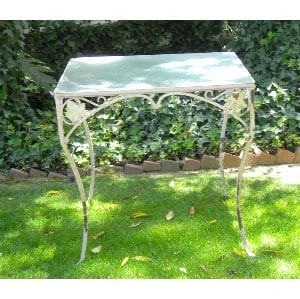 TRINA GLASS TOP WROUGHT IRON TABLE
