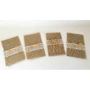 Burlap Flatware Holders