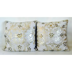 white and gold sequin pillow