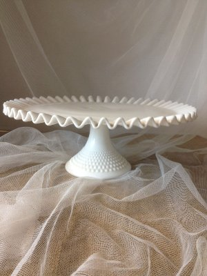 Vintage Milk Glass Cake Plate 10