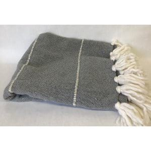 Gray wool throw with fringe