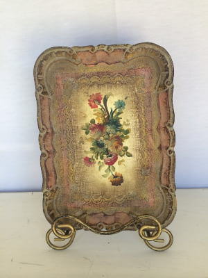 Gold and Pink florentine Tray small