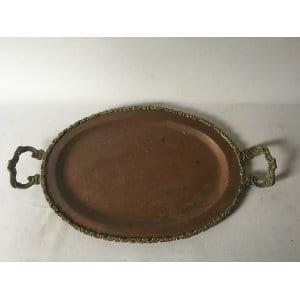 Fancy Handle Copper Tray