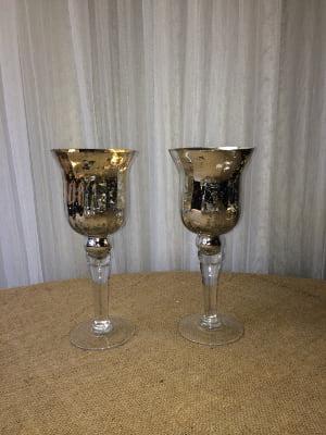 Gold Mercury Glass tall Vases/Votives