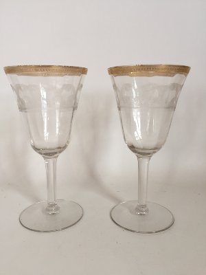 Gold rimmed  toasting glasses