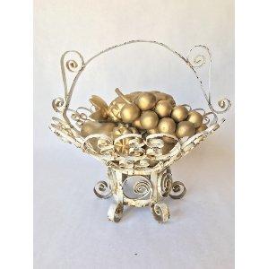 gold wooden fruit basket