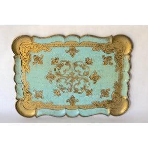 gold and aqua florentine tray