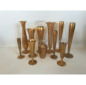 ETCHED GOLD BUD VASES