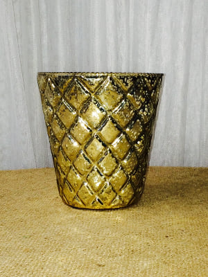 Gold Mercury Glass Flower Container