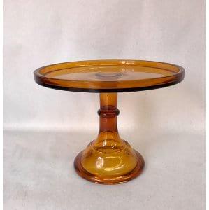 Amber brown cake plate 7