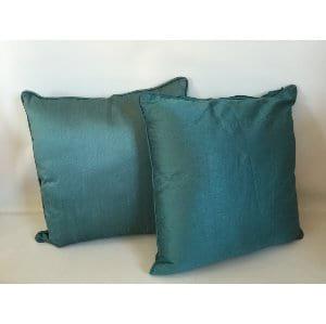 Teal silk pillows