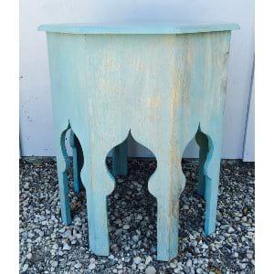 Aqua Stained Boho Side Table