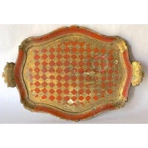Orange and gold florentine tray