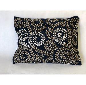 Navy leaf pillow