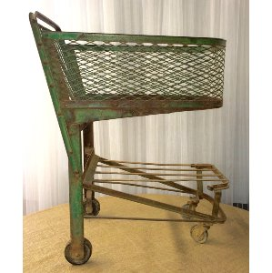 Vintage Green Shopping Cart