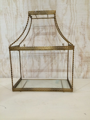 GALLA GLASS SHELF WITH GOLD TRIM
