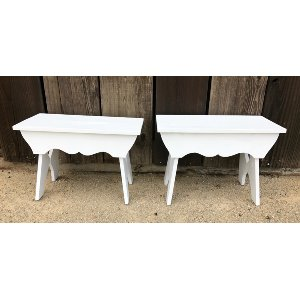 mini white bench