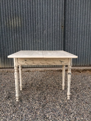 TODD WHITE TABLE WITH FOLD-OUT TABLE