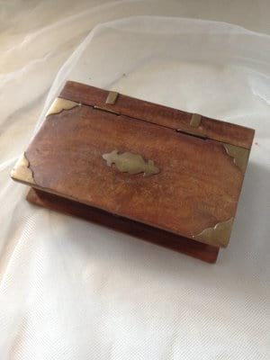 Small Wood Box with gold embellisments