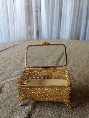 Gold Filigree Box velvet lined