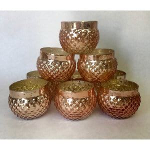 Rose gold/pink mercury glass votives